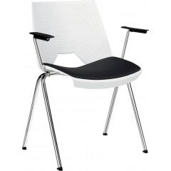 Plastová jednací židle STRIKE s čalouněným sedákem