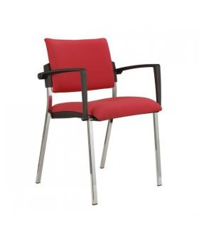 Jednací židle SQUARE černý plast čalouněná