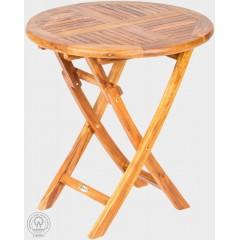 Skládací teakový  zahradní stůl  VASO 11018 - průměr 75 cm
