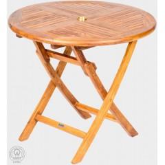 Skládací teakový  zahradní stůl  VASO 11019 - průměr 90 cm