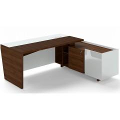 Rohový psací stůl TRIVEX -  200x180 cm - dub Charleston/bílá - pravý