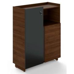 Kancelářská skříň TRIVEX - dub Charleston/černá - výška 134 cm