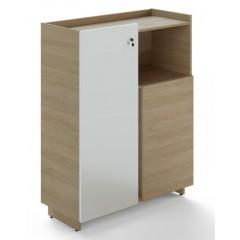Kancelářská skříň TRIVEX - dub pískový/bílá - výška 134 cm