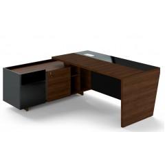 Rohový psací stůl TRIVEX -  200x180 cm - dub Charleston/černá - levý