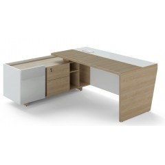 Rohový psací stůl TRIVEX -  200x180 cm - dub pískový/bílá - levý