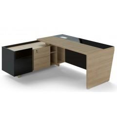 Rohový psací stůl TRIVEX -  200x180 cm - dub pískový/černá - levý