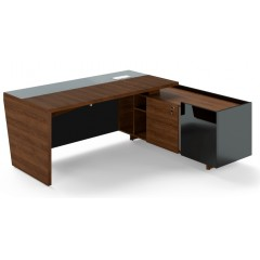 Rohový psací stůl TRIVEX -  200x180 cm - dub Charleston/černá - pravý
