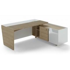 Rohový psací stůl TRIVEX -  200x180 cm - dub pískový/bílá - pravý