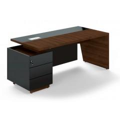 Kancelářský psací stůl TRIVEX s kontejnerem-  200x90 cm - dub Charleston/černá - levý