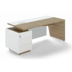 Kancelářský psací stůl TRIVEX s kontejnerem-  200x90 cm - dub pískový/bílá - levý