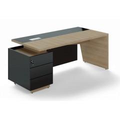 Kancelářský psací stůl TRIVEX s kontejnerem-  200x90 cm - dub pískový/černá - levý