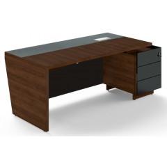 Kancelářský psací stůl TRIVEX s kontejnerem -  200x90 cm - dub Charleston/černá - pravý