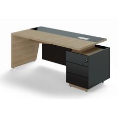 Kancelářský psací stůl TRIVEX s kontejnerem -  200x90 cm - dub pískový/černá - pravý