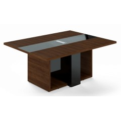 Jednací stůl TRIVEX -  180x140 cm - dub Charleston/černá