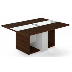 Jednací stůl TRIVEX -  180x140 cm - dub Charleston/bílá