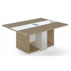 Jednací stůl TRIVEX -  180x140 cm - dub pískový/bílá