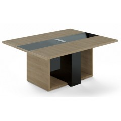 Jednací stůl TRIVEX -  180x140 cm - dub pískový/černá
