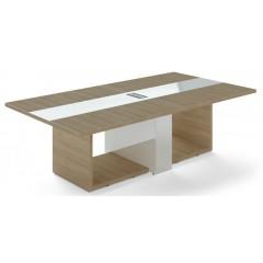 Jednací stůl TRIVEX -  260x140 cm - dub pískový/bílá