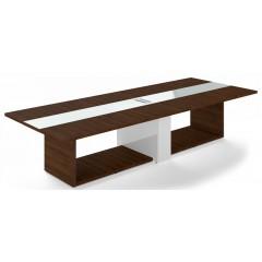 Jednací stůl TRIVEX -  360x140 cm - dub Charleston/bílá