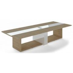 Jednací stůl TRIVEX -  360x140 cm - dub pískový/bílá
