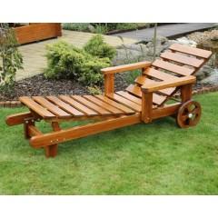 Dřevěné zahradní polohovací lehátko