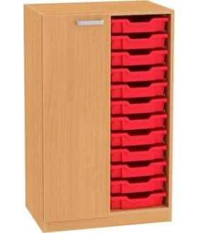 Skřín Nova 3OH s dveřmi a plastovými boxy SB24 výška 113 cm - levá