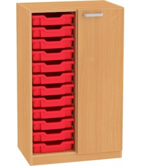 Skřín Nova 3OH s dveřmi a plastovými boxy SB25 výška 113 cm - pravá