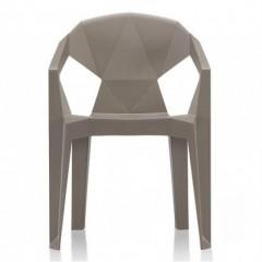 Plastová židle MUZE - hnědošedá