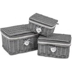 Sada proutěných košíků s víkem - sada 3 kusů - barva šedá - PRT133