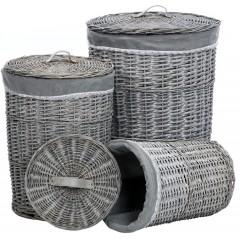 Sada proutěných košů - sada 3 kusů - barva šedá - PRT154