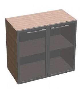 Kancelářská skříň SQUARE 2dveřová prosklená nízká 81,5 cm