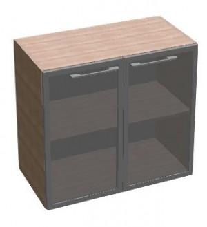 Kancelářská skříň SQUARE 2dveřová prosklená nízká 81,5 cm - MS2128