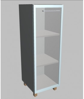 Kancelářská skříň Square úzka prosklená střední 117 cm -levá