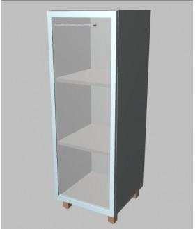 Kancelářská skříň Square úzka prosklená střední 117 cm - pravá