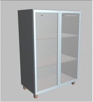 Kancelářská skříň Square  2-dveřová prosklená střední 117 cm - MS3128