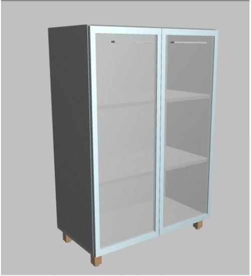 Kancelářská skříň Square  2-dveřová prosklená střední 117 cm