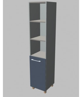 Kancelářská skříň Square úzká s nikou vysoká 189 cm - pravá