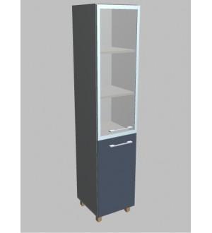 Kancelářská skříň  Square úzká se sklem vysoká 189 cm - levá