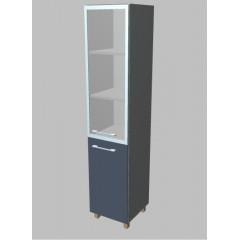 Kancelářská skříň  Square úzká se sklem vysoká 189 cm - pravá - MS5424R