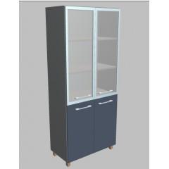 Kancelářská skříň Square 4-dveřová se sklem vysoká 189 cm - MS5428