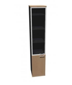 Skříň policová Standard dělená prosklená ALU rám - výška 202 cm levá