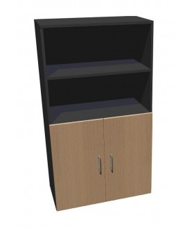 Kancelářská skříň Standard dělená s dveřmi - výška 144 cm