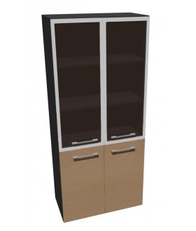 Kancelářská skříň vysoká dělená-sklo Level MN5428